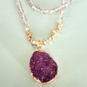PURPLE CRYSTAL PENDANT GOLD & GLASS BEAD NECKLACE